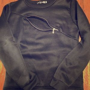 black sweatshirt with zipper detail